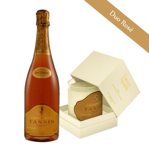 duo bougie et champagne rosé